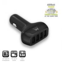 Ewent EW1354 USB Car Charger 4port 9,6A